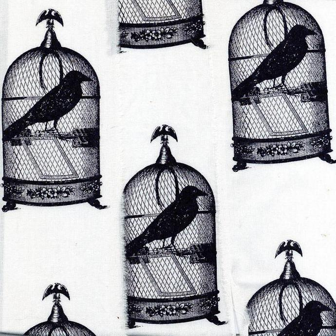 vintage french birdcage black bird  white  Muslin ribbon handmade 2.75 wide c752