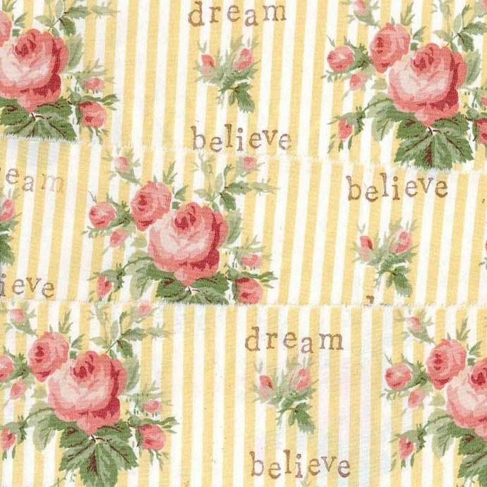 "Believe Dream vintage inspired pink rose Muslin ribbon handmade 2.75""   c 707"