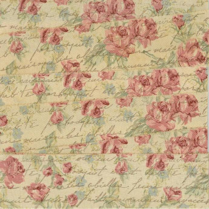Tea dyed vintage French script, pink green floral muslin ribbon  hand stamped