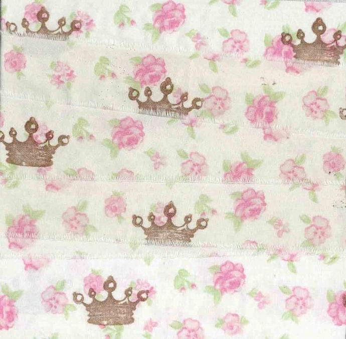 Crowns pink roses  hand stamped muslin princess ribbon shabby cottage c508