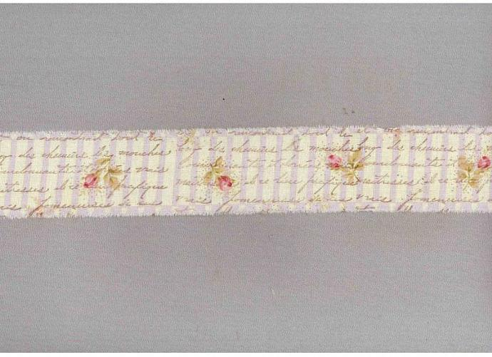 Lavender picket fence with floral french chic handmade ribbon fabric muslin trim