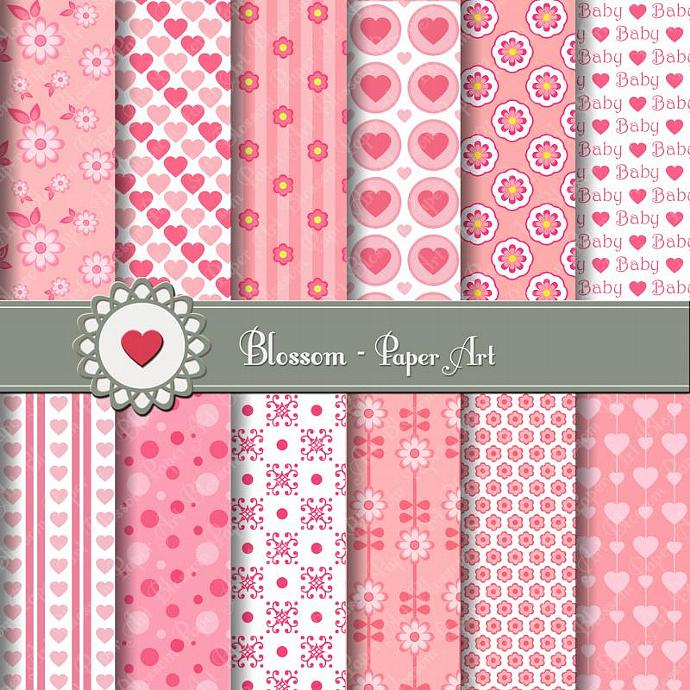 Baby pink digital paper scrapbooking by blossompaperart on zibbet - Papel decorado para manualidades ...