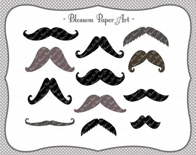 Moustaches Digital Clipart - Printable - by BlossomPaperArt on Zibbet