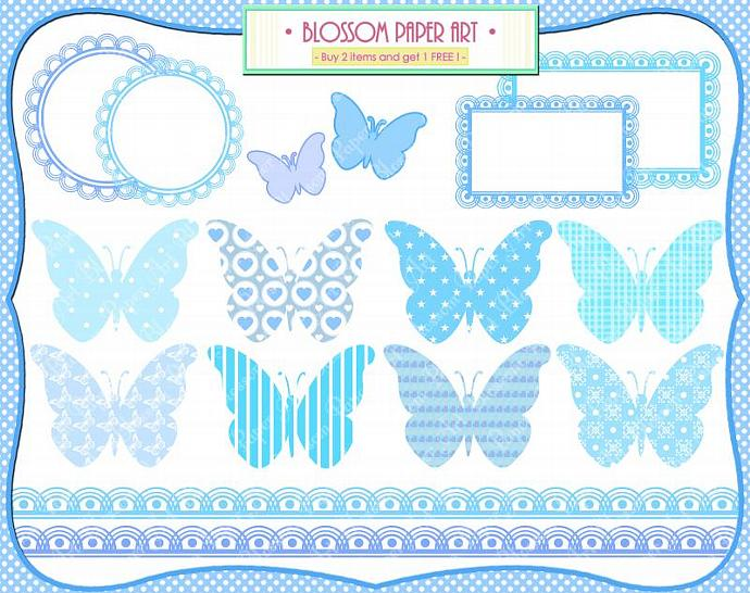 Baby Boy Clipart Butterflies Baby By Blossompaperart On Zibbet