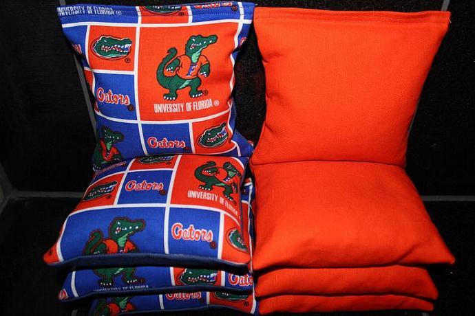 FLORIDA GATORS 8 Top Quality Custom Handmade ACA Regulation Size Cornhole Bean