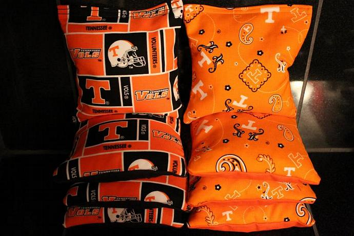 TENNESSEE VOLUNTEERS Cornhole Bags 8 Top Quality Custom Handmade ACA Regulation
