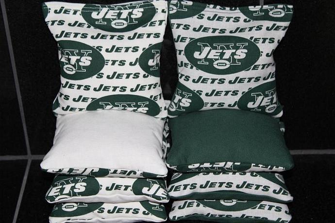 New York JETS Cornhole Bean Bags 8 ACA Regulation Corn Hole Bags Baggo Toss