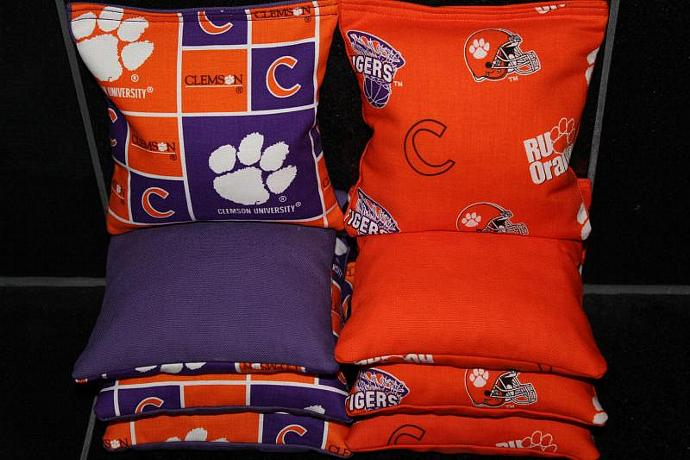 CLEMSON TIGERS Cornhole Bean Bags 8 ACA Regulation Corn Hole Bags Baggo Toss