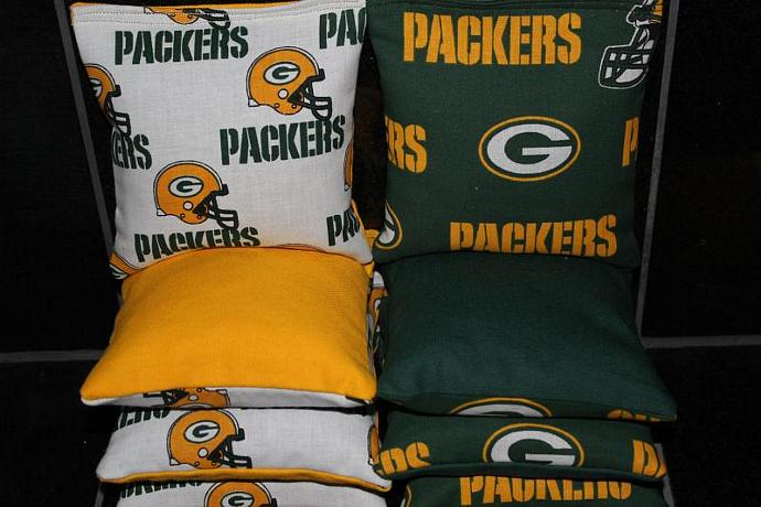 Green Bay PACKERS Cornhole Bean Bags 8 ACA Regulation Corn Hole Bags Baggo Toss