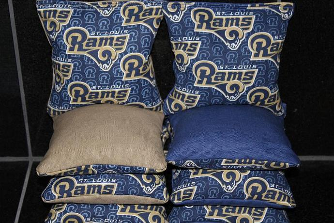 St. Louis RAMS Cornhole Bean Bags 8 ACA Regulation Corn Hole Bags Baggo Toss