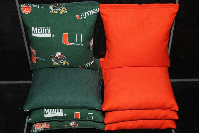 MIAMI HURRICANES Cornhole Bean Bags 8 ACA Regulation Corn Hole Bags Baggo Toss