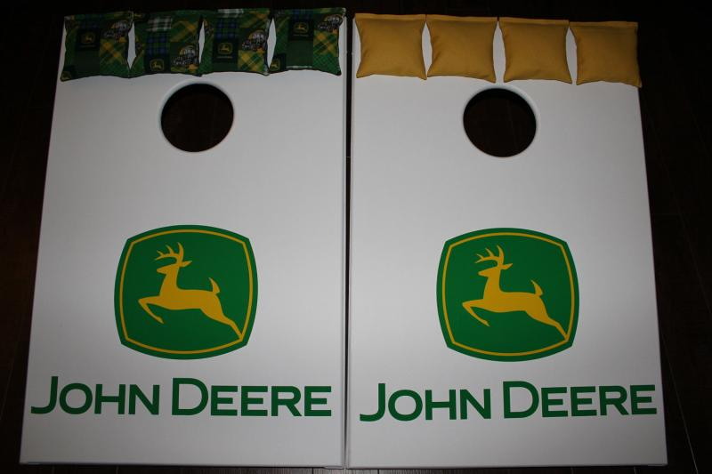 Awesome Cornhole Set John Deere Bean Bag Game With 8 Bags Quality Custom Handmade Spiritservingveterans Wood Chair Design Ideas Spiritservingveteransorg