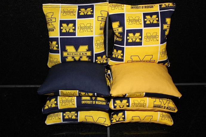 UNIVERSITY of MICHIGAN Cornhole Bean Bags 8 ACA Regulation Corn Hole Bags Baggo