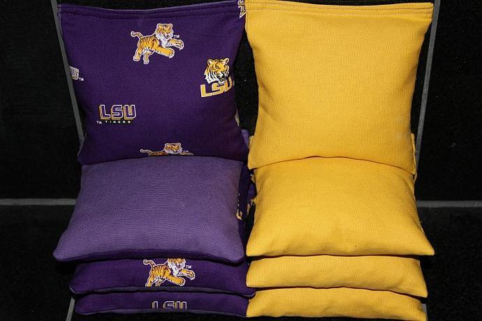 LSU TIGERS Cornhole Bean Bags 8 ACA Regulation Corn Hole Bags Baggo Toss