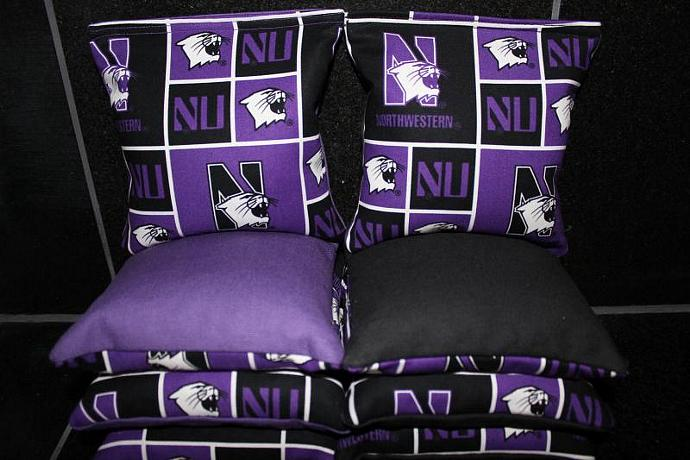 NORTHWESTERN WILDCATS 8 Top Quality Custom Handmade ACA Regulation Size Cornhole