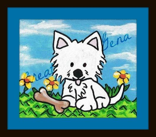 West Highland Terrier Westie Original Acrylic Painting Dog kids room art