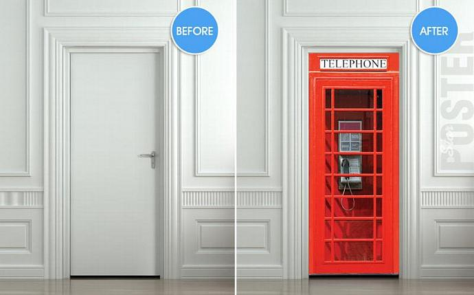 Door STICKER Telephone Box London red mural decole film self-adhesive poster