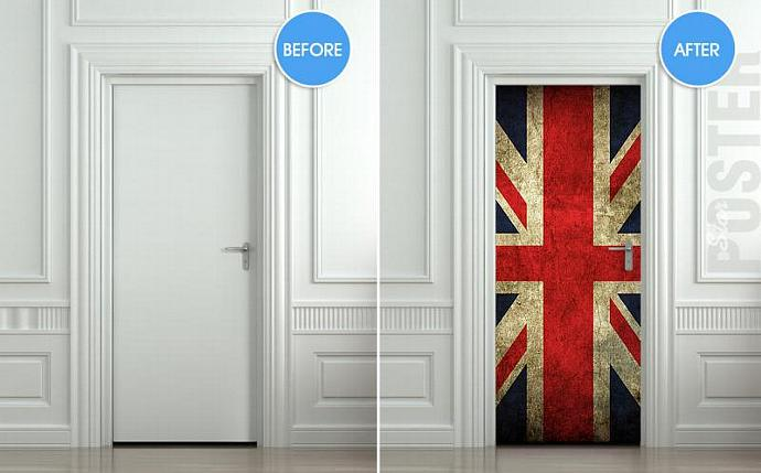 Door STICKER British flag grunge UK banner Great Britain England English London