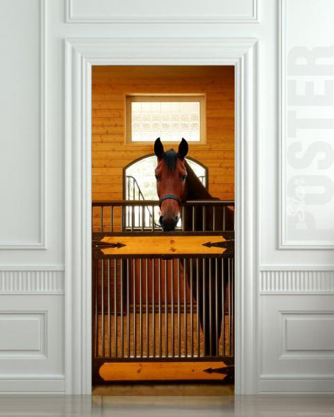 """GIANT Door Wall STICKER decole horse stole stable country poster 30x79""""(77x200"""