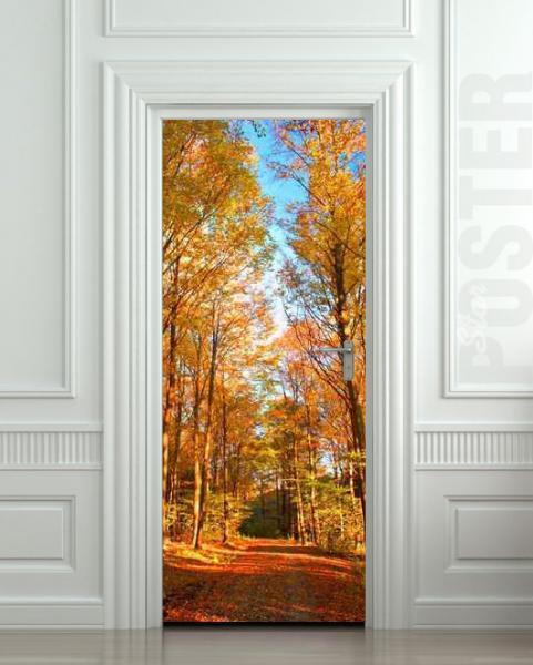 Wall Door vinyl STICKER autumn road way forest trees mural decole film poster