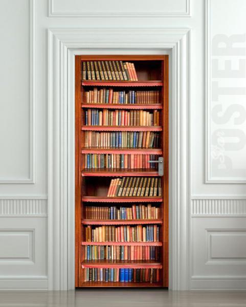 Wall Door STICKER books shelfs bookcase mural decole film poster