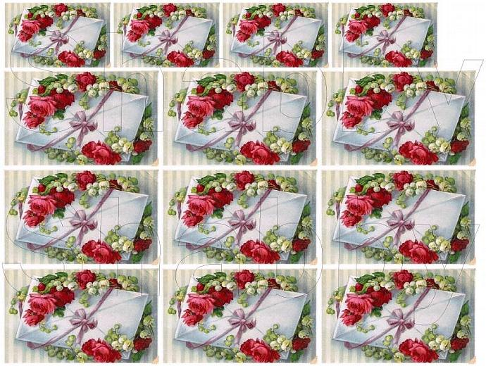 Shabby Chic Red Rose Love Letter collage sheets for scrapbook and cards  DC282