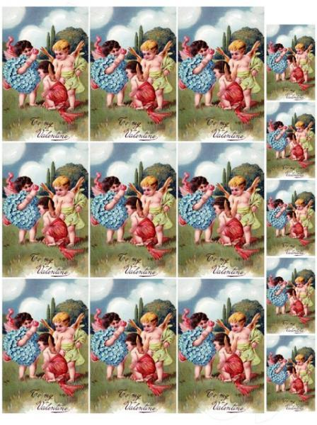 Shabby Chic Vintage cherubs playing Valentine collage sheet for scrapbook and