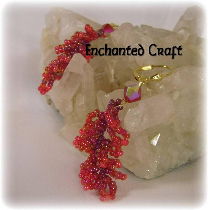 Ruby red Seed bead earrings
