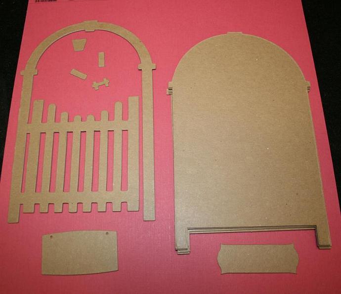 Shabby raw chipboard Garden Gate scrapbook  album chic CM11