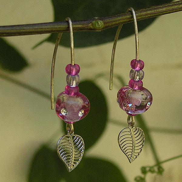 Magenta Dangling Earrings, Handmade Lampwork Glass Beads Earrings, Goldfilled