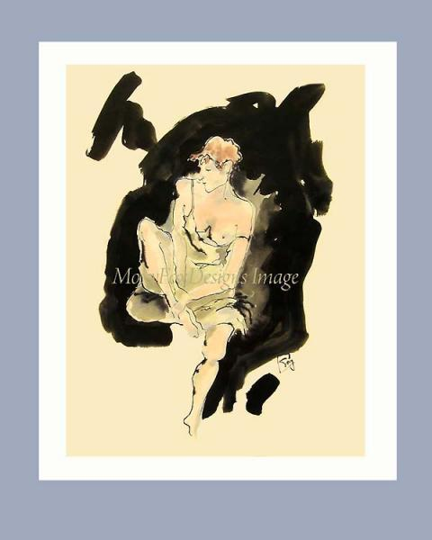 Art -- MEDITATING NUDE  Limited Edition Portrait   Free US Shipping
