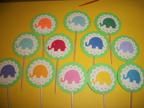 12ct  3D Lime Green Cupcake toppers with assorted color elephants baby shower