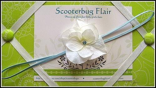 SCOOTERBUG FLAIR Hydrangea Skinny Headband with Aq