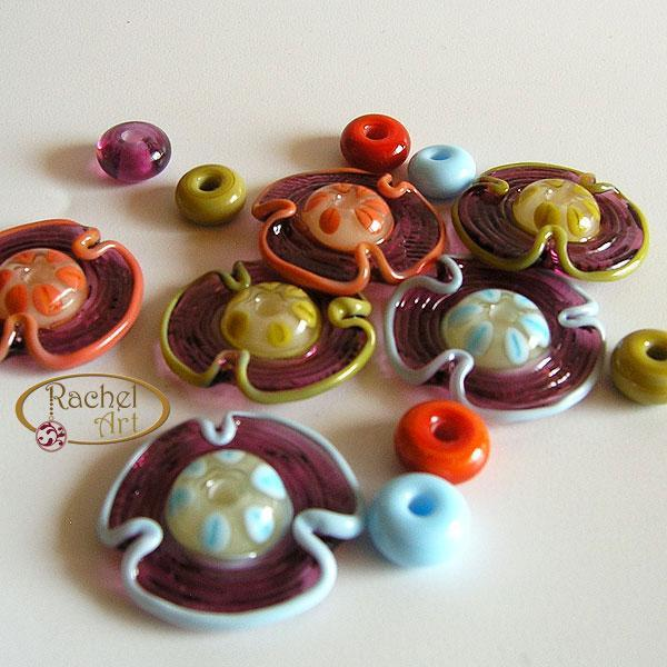 Flower Beads, Lampwork Glass Beads, Handmade Lampwork Glass Disc Beads Set (18 )