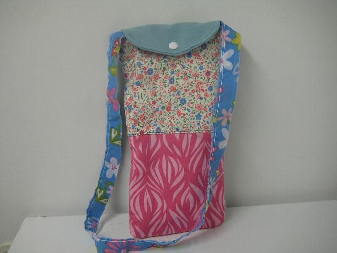 Wine Gift Bag - Blue and Pink - Shoulder Strap - Long and Skinny - Patchwork