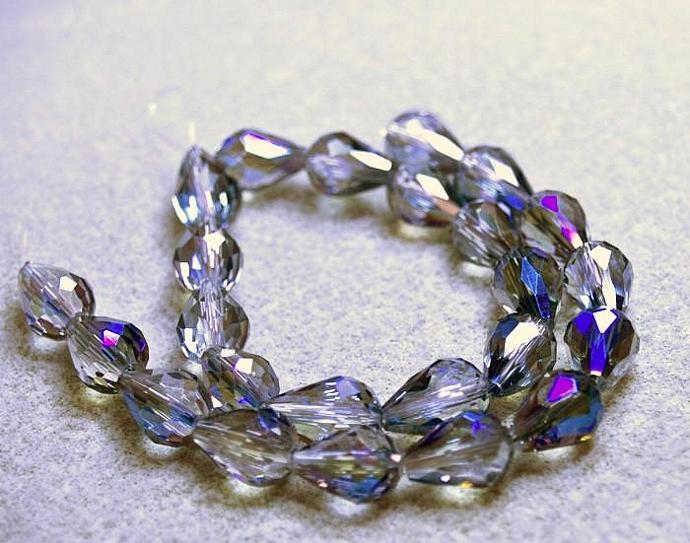 Meridian Blue Tears- faceted crystal teardrop beads