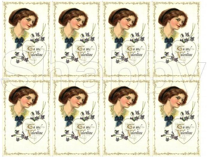 Shabby Chic Vintage Valentine Lady Purple collage sheet for scrapbook and cards