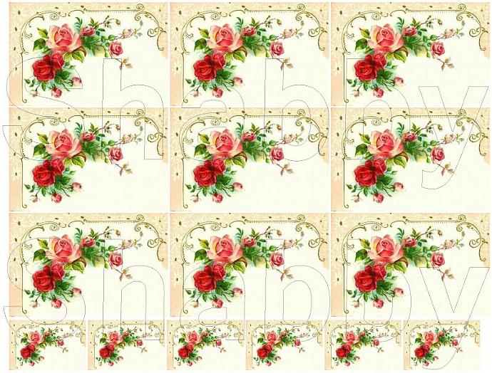 Shabby Chic Vintage Pink and red roses collage sheet for scrapbook and cards