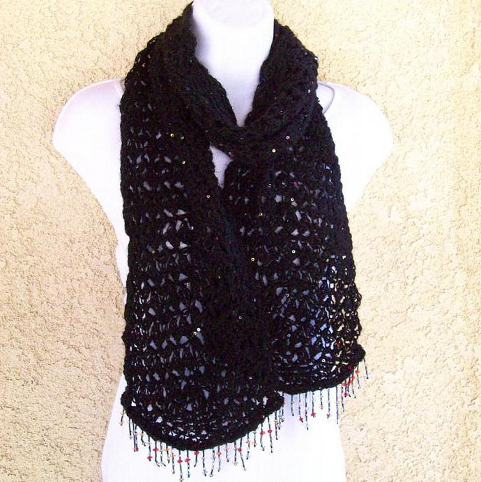 Fashion Scarf, lacy crochet in black with sequins and bead fringe