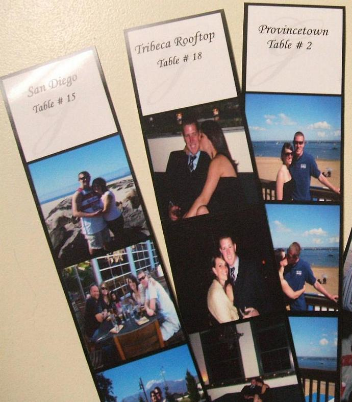 Custom photo strip 150 escort cards and 15 double