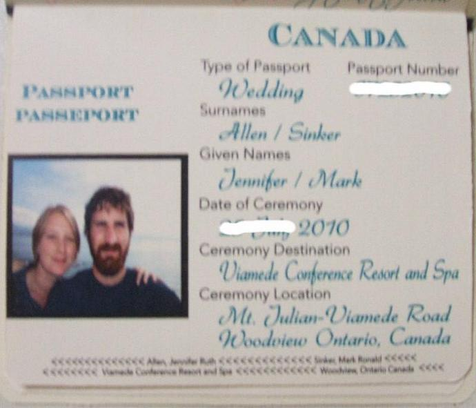100 custom Passport wedding invitations, cover des