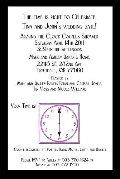 Custom Around the Clock Bridal Shower PlatinumDesigns