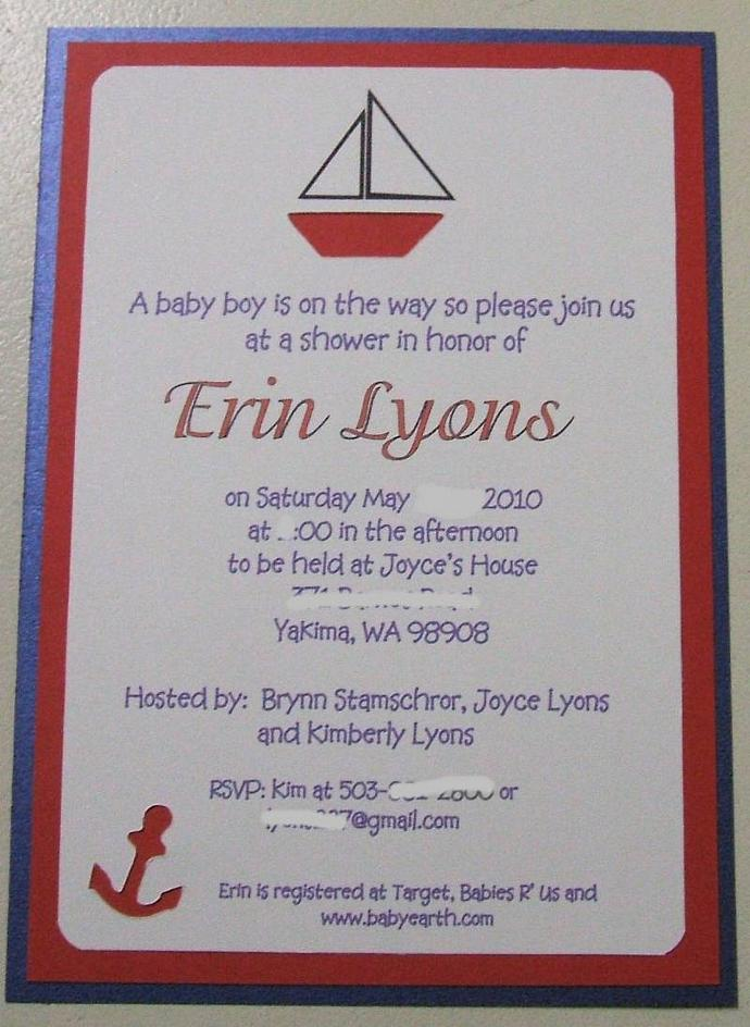 40 Nautical Custom handcrafted Baby shower invites