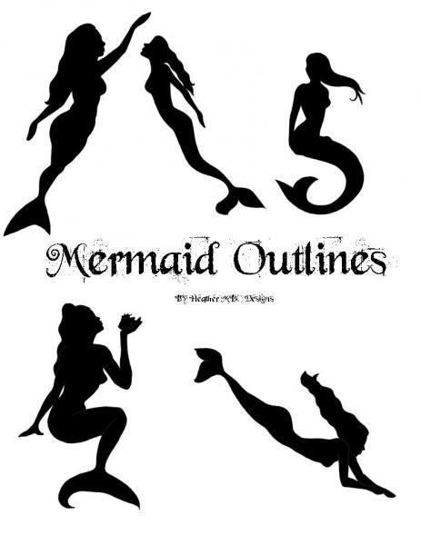 mermaid patterns outline template by heathermbcdesigns on zibbet