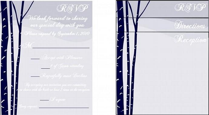 100 Custom Birch Tree Wedding invitation sets