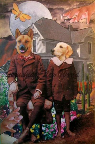 A Waiting Day for Miles and Matty ~ Anthropomorphic Watercolor Collage Print