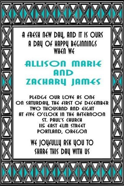 ART DECO Style custom design Wedding invitation se