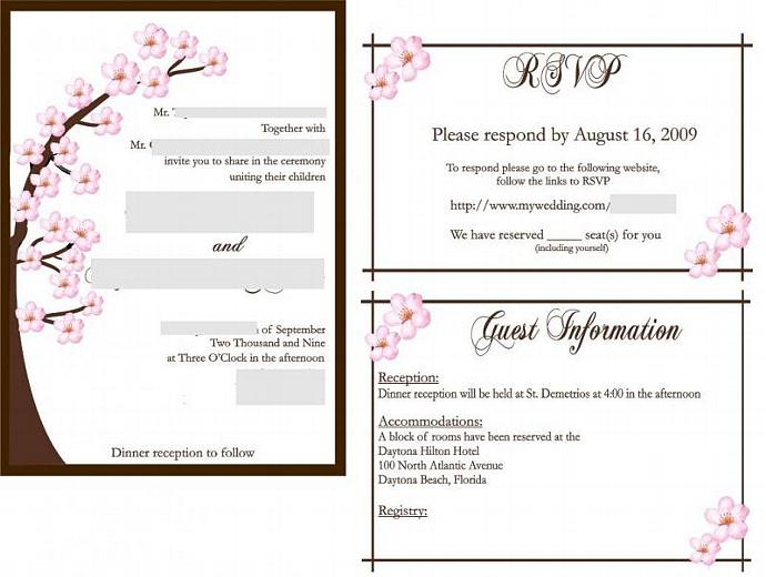 Cherry Blossom matted wedding invitation suite wit