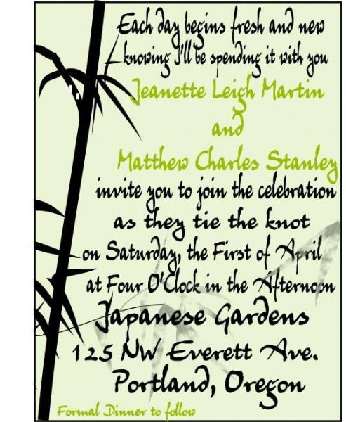Beautiful Bamboo graphic wedding invitation set- c