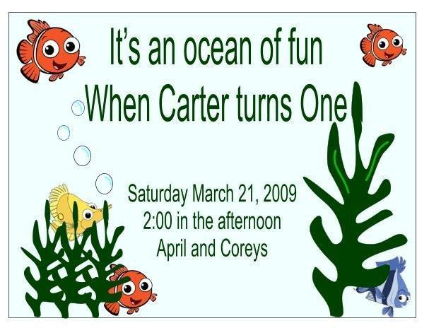 Personalized Finding Nemo childs birthday invitati
